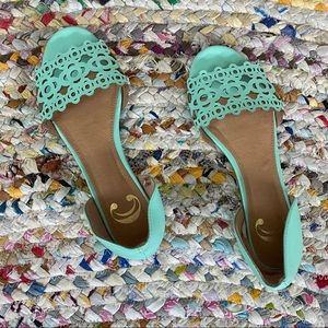 Charming Charlie Turquoise Teal Mosaic Flats